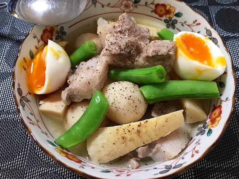 豚バラ 里芋 筍 煮込み