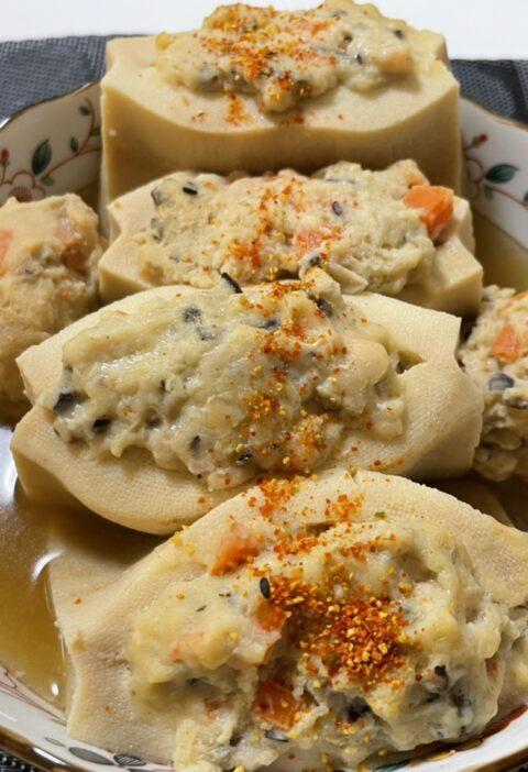 高野豆腐の肉詰め