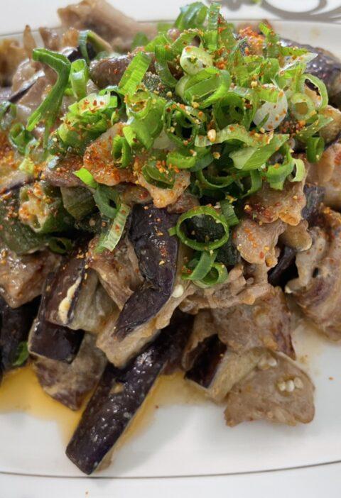 茄子と豚バラのオイマヨ炒め