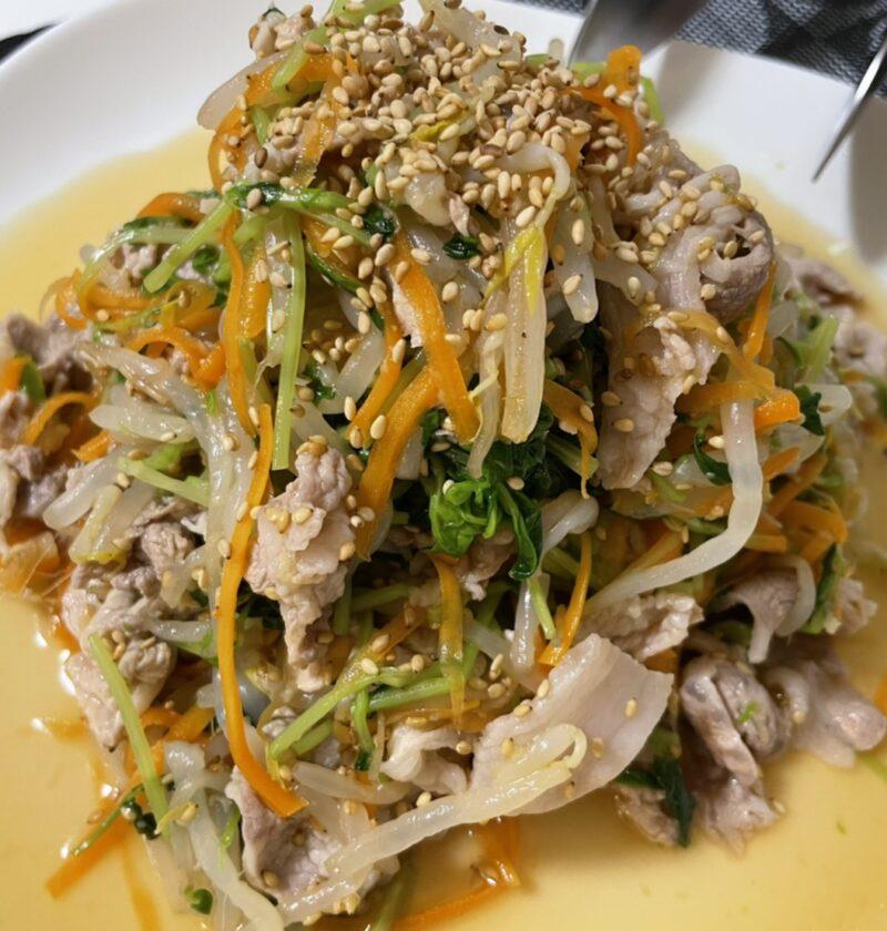 豆苗 豚肉 サラダ